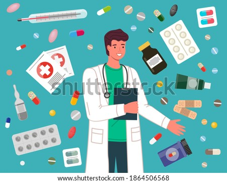 Doctor prescription and pills, man medical worker and medicines. Medication, pharmaceutic concept. Medic and medicines. Set of tablets, blister, spray, syrup, syringe, injection for sickness treatment Foto stock ©