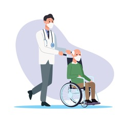 doctor protecting elderly person characters vector illustration design