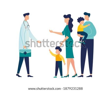 Doctor's appointment with children, family doctor, treatment of childhood disease, addictions and mental problems, vector illustration