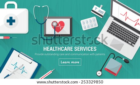 doctor's desktop with medical