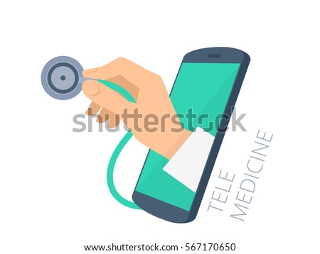 Doctor's hand holding a stethoscope through the phone screen checking pulse. Tele, online, remote medicine flat concept illustration. Vector design infographic element isolated on white background.