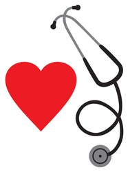 doctor`s stethoscope and heart vector icon