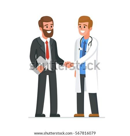 Doctor shaking businessman hand. Vector medical illustration