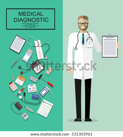 Doctor showing diagnoses with mediacal first aid kit with different pills and medical devices, patiend card with pen, Pill and care healthy, healthcare. vector illustration in flat style.