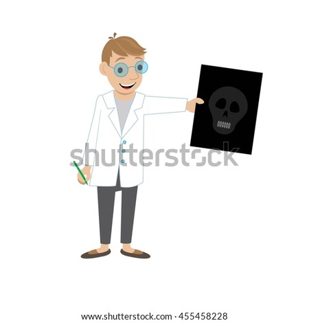 doctor shows x ray of the skull