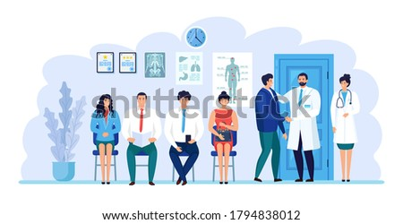 Doctor talking with patient. Man and woman sitting near medic room. Patients waiting for physician, nurse. Medical staff working in hospital reception. Consultation, diagnosis concept. Vector design Stock photo ©