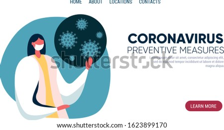 Doctor tells about preventive measures against Coronavirus CoV. Awareness campiagn, health and medicine concept. Tempalte for website, landing page. Flat vector illustration.