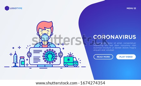 Doctor tells about symptoms and prevention coronavirus concept. Thin line icons. COVID-19, surgical mask, person-to person, vaccine. Vector illustration, template with copy space.