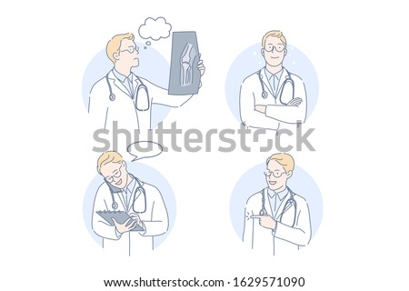 Doctor, therapist, medicine set concept. Man doctor looks at results of examination talking on mobile phone. Young boy therapist makes offer. Intern is thinking of xray results. Simple flat vector