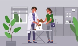Doctor veterinarian checking dog at vet clinic. Dog owner in doctors cabinet with pet. Veterinary medicine concept. Flat cartoon vector illustration.
