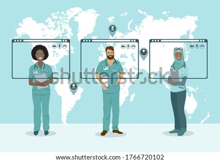 Doctor Video Call Conference Teleconference. Scientist Surgeon Specialist Medical Expert Nurse Pharmacy Online Virtual Meeting. Hospital Team Remote Work COVID-19 Pandemic sharing experience knowledge