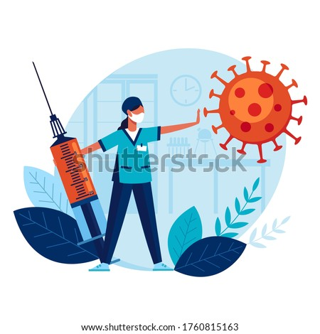 Doctor with big syringe and vaccine prevents spread of terrible coronavirus. Vaccination. Concept medicine protects people from flu. Medicine protects population from COVID-19 Virus pathogens.