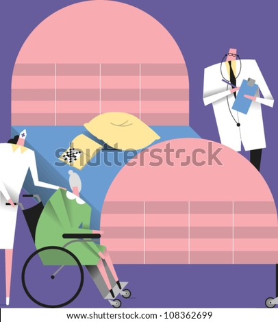 Doctor with clipboard and stethoscope standing near a hospital bed and a nurse pushing an elderly woman in a wheelchair