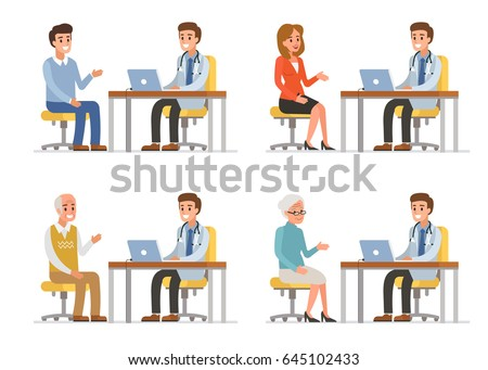 Doctor with different patients. Flat style vector illustration isolated on white background.