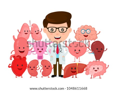 Doctor with human internal organs. Vector flat cartoon character illustration icon design. Isolted on white background. Stomach,heart,lungs,brain,kidney, uterus, spleen,bladder, liver, intestine