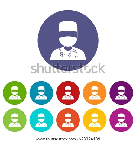 doctor with mask icons set in