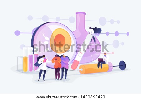 Doctor working on infertility treatment for couple. Negative pregnancy test. Infertility, female infertility causes, sterility medical treatment concept. Vector isolated concept creative illustration