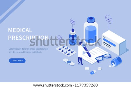 Doctor writing medical prescription. Can use for web banner, infographics, hero images. Flat isometric vector illustration.