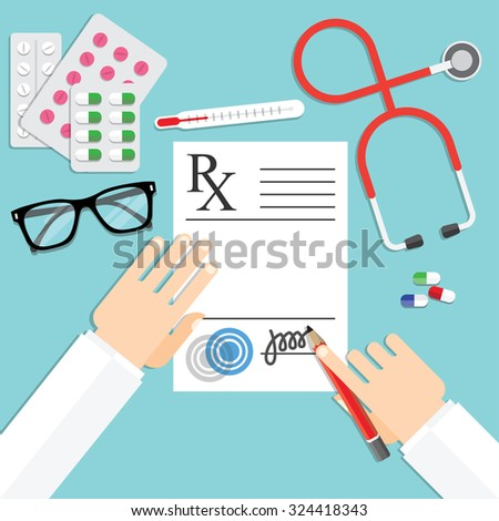 doctor writing notes on a prescription pad