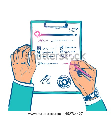 Doctor writing prescription. Clipboard in hands of doctor. Rx prescription form. Medical prescription pad. Vector illustration sketch style. Cartoon style. Medical background, template.