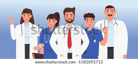 Doctors. A group of health workers. Chief physician and medical specialists. Vector illustration