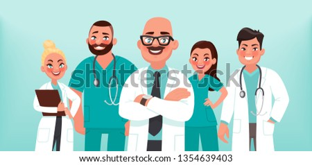 Doctors. A group of health workers. Chief physician and medical specialists. Vector illustration in cartoon style