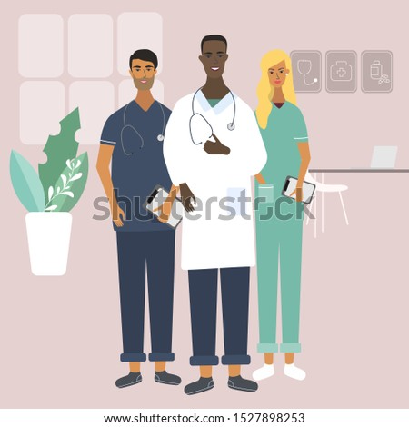 Doctors and nurse at the clinic. Team of medical specialists. Flat stylish vector illustration in cartoon style for medical office, clinics, laboratory. Isolated characters.