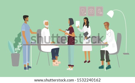 Doctors and nurses discussing and talking at the clinic. Teamwork of medical specialists. Flat vector illustration in cartoon style for web, medical office, clinics, laboratory