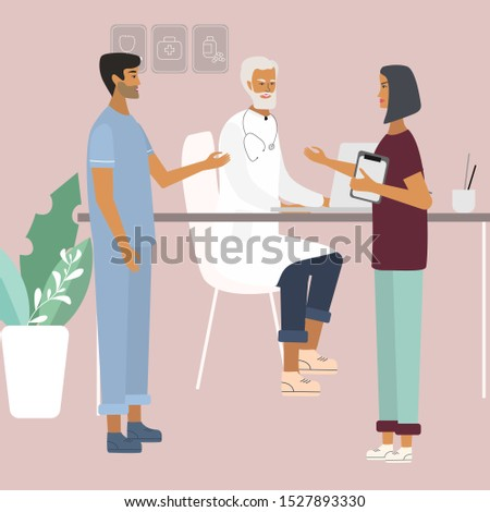 Doctors and nurses discussing and talking. Teamwork of medical specialists at the clinic . Flat  vector illustration in cartoon style for web, medical office, clinics, laboratory