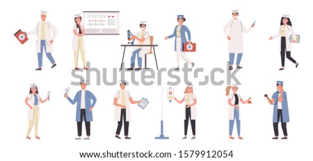 Doctors and nurses flat vector illustrations set. Medicine, medic specializations, hospital workers. Physicians, people with medical equipment cartoon characters bundle isolated on white background.