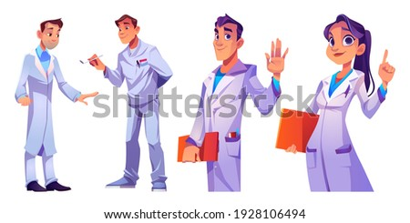 Doctors and nurses hospital healthcare staff set. Characters in medical robes with medic stuff and instruments. Clinic personnel, medicine profession occupation. Cartoon people vector illustration Stock foto ©