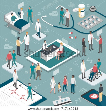 Doctors and nurses taking care of the patients and connecting together online: healthcare and technology concept