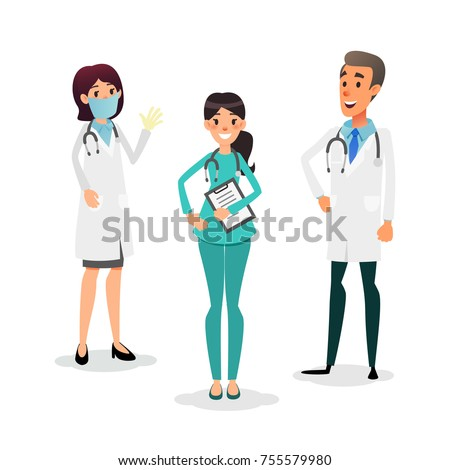 Doctors and nurses team. Cartoon medical staff. Medical team concept. Surgeon, nurse and therapist on hospital. Professional health workers.