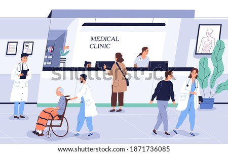 Doctors and patients at clinic. People talking with specialists at reception in hospital. Characters consulting with staff and making appointment at medical center. Flat vector cartoon illustration