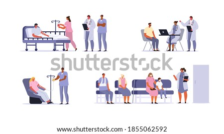 Doctors and Patients Characters set. People Waiting Appointment Time, Hospitalized Patient Lying in Hospital Bed, Patient Consultation and other Scenes in Hospital. Flat Cartoon Vector Illustration.