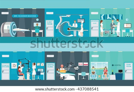 Doctors and patients in hospitals, Medical services, dental care, x-ray, Orthopedic clinics,MRI scanner machine, ophthalmic testing device machine, C Arm X-Ray, health care conceptvector illustration.