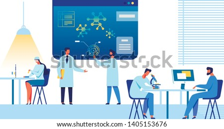 Doctors and Researchers Team Works at Research Center or Laboratory. Female and Male Medical Experts and Scientist Study, Discuss, Analyze. Nanomedicine and Nanotechnology Flat Vector Illustration