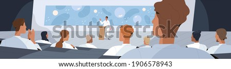 Doctors and scientists listening to speaker at medical conference. Professor of medicine lecturing or presenting scientific research. Colored flat vector illustration of audience at symposium hall