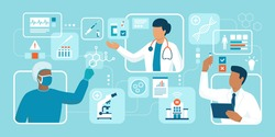 Doctors and scientists working together: treatment, medical research and innovation