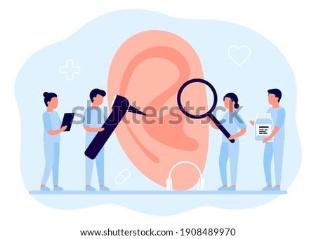 Doctors check health of ear, hearing organ. Medical examination, test and treatment of ear, otolaryngology. Ent checks loss hearing. Vector flat illustration