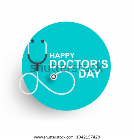 Doctors day greeting card design with stethoscope #1042157428