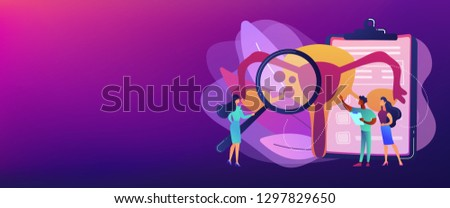 Doctors examine uterus with magnifier to treat endometriosis. Endometriosis, endometrium dysfunctionality, endometriosis treatment concept. Header or footer banner template with copy space.