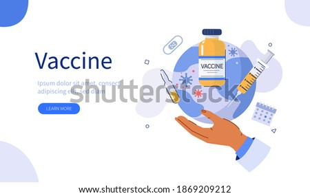 Doctors Hand Holding Planet Earth with ready for Clinical Trial Covid Vaccine. Preparing For Global Vaccination against Coronavirus. Immunization Campaign Concept. Flat Cartoon Vector Illustration.