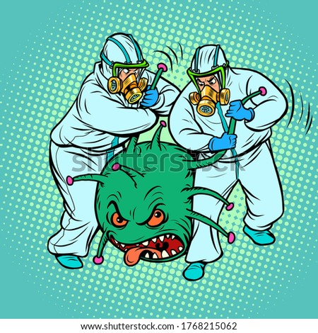 Doctors in protective suits and a coronavirus. Humor caricature. The virus was arrested as a criminal. Comics caricature pop art retro vector illustration drawing