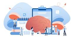 Doctors is diagnosing the brain and senses diseases banner. Stroke and headache, oxygen-deprived brain, migraine. Head tomography. chemical experiment, neurology. Diagnostics development hemisphere.