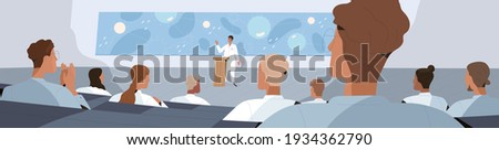 Doctors listening to lecture of scientist during medical conference. People at healthcare congress. Colored flat cartoon vector illustration of speaker presenting scientific research to students