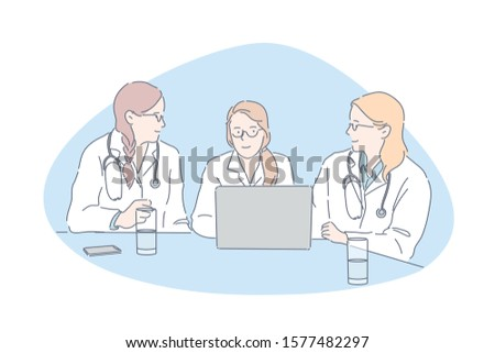 Doctors meeting, hospital staff, clinic personnel concept. Young women in white coats talking, medical college students, colleagues communication, physicians council, Simple flat vector