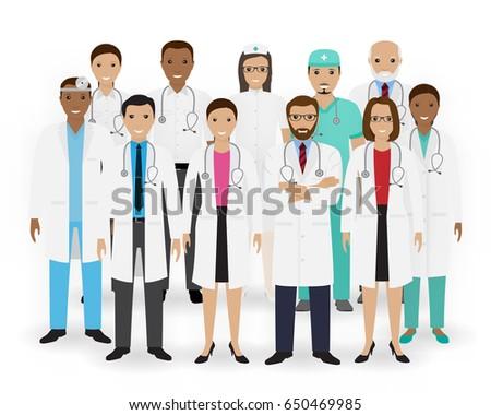 Doctors, nurses and paramedics icons. Group of medical staff. Hospital team. Medicine banner. Flat style vector illustration.