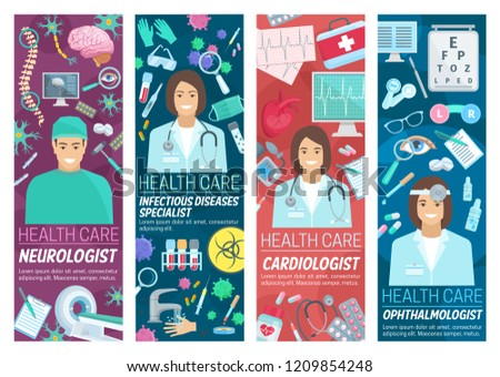 Doctors of neurology, cardiology and ophthalmology medicine and infectious diseases specialist. Vector cardiologist, neurologist and ophthalmologist doctor with medical treatment and equipment