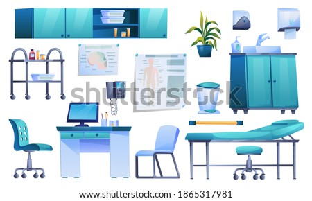 Doctors office interior elements isolated icons set. Vector clinic office room with desk, medical armchair, computer, shelf potted plant. Rubbish bin and medications, paper holder, washbasin with tap Photo stock ©